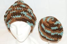 Adult and Baby Hats set Blue Slouch Hat Slouchy Cap by lanacooper,