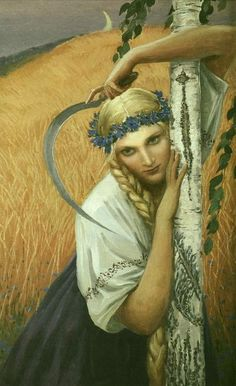 """Konstantin Vasilyev - """"Lady Midday"""" - Pscipolnitsa is a character of myth and tradition, common to much of Eastern Europe. She can be referred to in English as """"Lady Midday"""". She was usually pictured as a young woman dressed in white that roamed field bounds. She assailed folk working at noon causing heatstrokes and aches in the neck. Sometimes she even caused madness."""