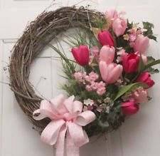 Handmade Pastel and Bright Tulips Ferns and Butterfly Greens Grapevine Wreath