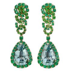 Verdura Aquamarine Emerald Tsavorite Cascade Collection Earrings | From a unique collection of vintage drop earrings at https://www.1stdibs.com/jewelry/earrings/drop-earrings/