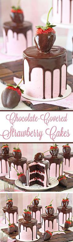 Chocolate-Covered Strawberry Cakes - sweet mini chocolate cakes with fresh strawberry buttercream. Beautiful and romantic! | From SugarHero.com