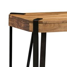 Alaterre Furniture Ryegate Natural Brown Live Edge Solid Wood Media Console Table Metal And Wood