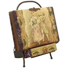 Victorian photo album w/stand, celluloid cover w/dancing Victorian couple, worn purple velvet, o/wis