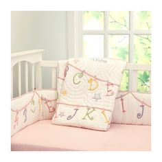 now i know my abcs quilt via Polyvore featuring home, bed & bath, bedding, quilts and embroidered bedding