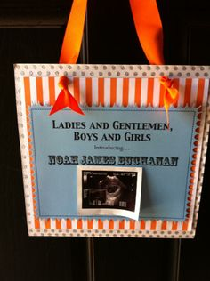 Circus Theme Baby Shower: This would be cute to have hanging up. I would do it in pink and white or maybe purple and white