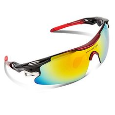 RIVBOS 802 Polarized Sports Sunglasses with 5 Set Interchangeable Lenses for Cycling -- Click on the image for additional details. (Note:Amazon affiliate link)
