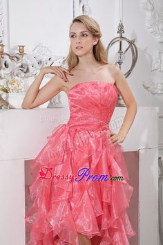 Buy 2014 watermelon red asymmetrical high-low prom dress ruffled from  discount prom dresses collection a865d6b08