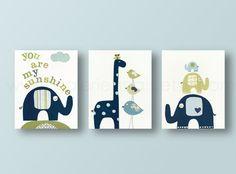 Nursery print, childrens art print, kids room decor, nursery wall art, elephant, birds, giraffe, Set of 3, 8x10 prints You are My Sunshine