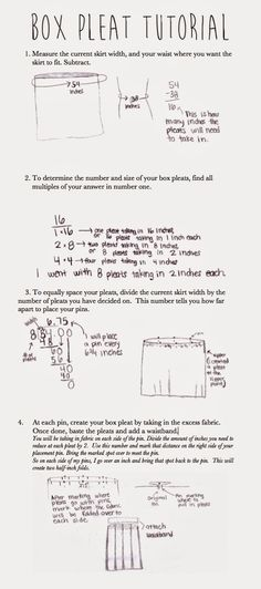 Step by step tutorial on how to take in a larger skirt by using box pleats.  Makes the math super simple.