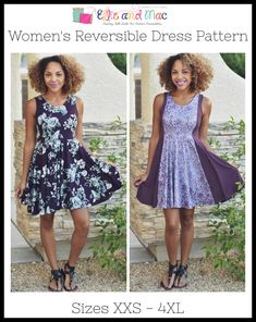 Reversible Dress Pattern – Ellie and Mac Sewing Clothes, Diy Clothes, Dress Sewing, Ellie And Mac Patterns, Vacation Dresses, Summer Dresses, Look Short, Reversible Dress, Diy Dress