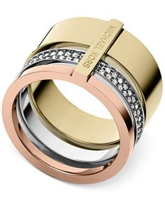 Michael Kors Tri-Tone Clear Stackable Ring