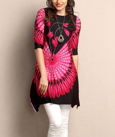 Another great find on #zulily! Black & Fuchsia Feather Sidetail Tunic - Plus #zulilyfinds