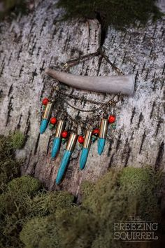 Antler Tip Short Necklace with Turquoise by TheFreezingSquirrel