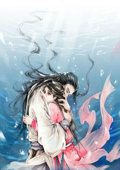 Even if the front is lofty cliff, I will hold you forever . Fantasy Art Women, China Art, Creative Pictures, Human Art, Anime Fantasy, Dark Fantasy, Couple Art, Anime Art Girl, Pretty Art