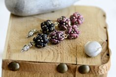 Items similar to Beaded bead ball earrings in black and mauve on Etsy Handmade Jewelry, Handmade Items, Unique Jewelry, Handmade Gifts, Beautiful Necklaces, Statement Earrings, Mauve, Beaded Bead, Beads
