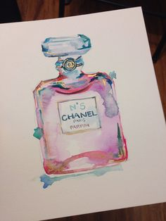 ORIGINAL Chanel Perfume No.5 Watercolor Painting with Gold - Chanel Art, Fashion Art, Fashion Watercolor, Fashion Illustration