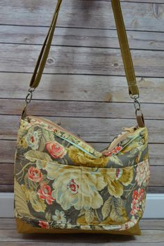 Vintage floral in shades of honey brown, gold, mint, rose, blue and more  waterproof canvas base and interior    Market Bag, Purse, world