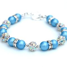 $27.55 Blue Wedding, Sky Blue Bling Bracelet, Bridesmaid Jewelry, Something…
