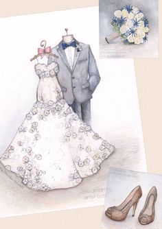 Sketch of your dress and tuxedo, but why not your bouquet and shoes too?  Sketch by Catie Stricker-Howell