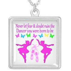 NEVER LET FEAR STOP THIS DAZZLING DANCER DESIGN SQUARE PENDANT NECKLACE Inspire your beautiful Ballerina with our lovely Dancer Jewelry.  http://www.zazzle.com/mysportsstar/gifts?cg=196655264925785682&rf=238246180177746410  #Dancer #Dancing #Dancergifts #Ballet #Ballerina #Lovedancing #Loveballet #DancerJewelry