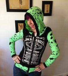 Jack Daniels splatter zip up hoodie Punk Goth Rock Rockabilly