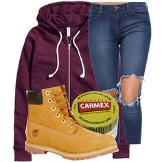 Untitled #470 by princessqm9 on Polyvore featuring H&M, Timberland and Carmex