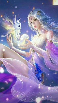 Fantasy Kunst, Anime Art Fantasy, Fantasy Art Women, Beautiful Fantasy Art, Dark Fantasy Art, Fantasy Artwork, Anime Angel Girl, Anime Girl Cute, Kawaii Anime Girl