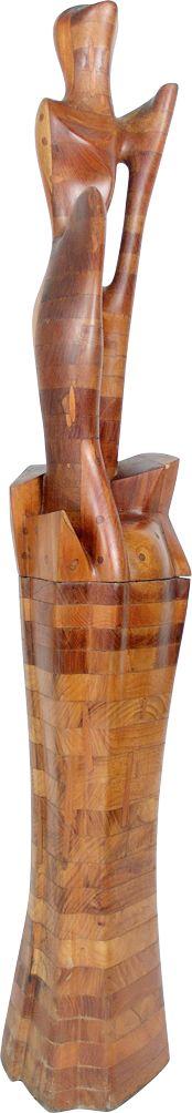 Paulo Laender - VÊNUS - escultura em madeira (cedro e vinhático) - data 1985 - dim diam 35 x 175 cms
