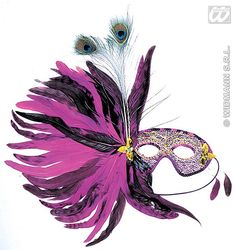 Our Purple Gala Eyemask features a metallic pink, blue and silver mask trimmed with contrasting purple sequins and gold embroidered thread and finished with a side decoration of black and purple feathers and faux gold flower ornament. Elegant Masquerade Mask, Silver Mask, Flower Ornaments, Metallic Pink, Gold Flowers, Blue And Silver, Owl, Eye Masks, Bird