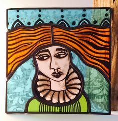 Little Lady by Carole Robinson Stained Glass Paint, Glass Panels, Glass Art, Traditional, Lady, Projects, Painting, Fictional Characters, Grisaille