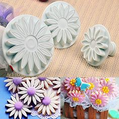 3 Pcs/set Sugar Craft Cookie Cutter Sunflower Mould Plunger Daisy Cake Mold for sale online Fondant Rose, Fondant Flowers, Sugar Flowers, Fondant Cakes, Fondant Tools, Wilton Cake Decorating, Cake Decorating Tools, Cookie Decorating, Flower Cake Design
