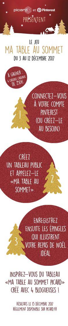 """Picard & Pinterest France sont heureux de vous présenter le jeu """"Ma Table au Sommet"""" : tentez de remporter 250€ en chèques cadeaux Picard. Pour cela rien de plus simple ! Créez un tableau Pinterest nommé """"Ma Table au Sommet"""" et enregistrez les épingles qui illustrent votre repas de Noël idéale ! Vous pouvez pour cela vous inspirer du tableau Picard, réalisée avec 4 blogueuses.  Les résultats seront annoncés le 15 décembre et le règlement est disponible sur www.picard.fr"""