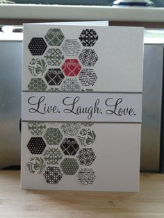 CTMH - Cricut hexagon card, stamped with Honeycomb stamp and Love Life stamp
