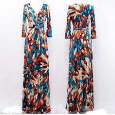 MOSAIC BLOOMS Blue & Orange MAXI DRESS Jersey Wrap LONG Skirt vtg BOHO S-M-L #tamarstreasures #Maxi #Casual