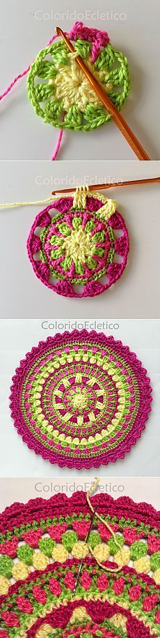 We are sharing here free crochet mandala patterns that different from each other in style, geometric patterns and in color schemes! Motif Mandala Crochet, Crochet Circles, Crochet Motifs, Crochet Blocks, Crochet Squares, Crochet Doilies, Crochet Flowers, Crochet Stitches, Crochet Motif