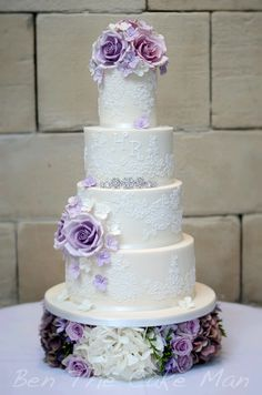 Lace wedding cake pink lilac purple flowers