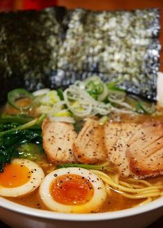 Ramen ... the staple food for all Japanese people! There are ramen shops everywhere. Soup made with pork stock.