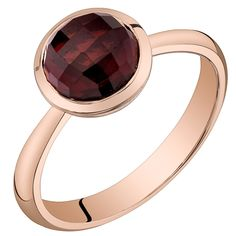 Retail Price: $599.99    Our Price: $399.99    Savings: $200.00         Item Number: R62982-2    Availability: Usually Ships in 5 Business Days         Product Description:    Crafted in 14k rose gold, this beautiful ring for her features a domed, checkerboard cut genuine Garnet gemstone.         Features:      	Crafted in 14k Rose Gold   	Sleek Bezel Set Design Design  	7.0mm Round Checkerboard Cut Genuine Garnet           Product Specifications:      	Metal Type: 14k Gold  	Metal Color…