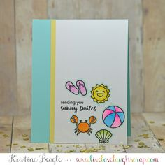 Live Love Laugh Scrap Handmade Card with Hero Arts Beach Clear Stamps for #a2zscrapbooking