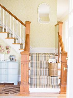 A fine striped stair runner in pastel tones plus the wallpaper makes this a sunny looking staircase. Carpet Staircase, Staircase Runner, Stair Runners, Striped Carpet Stairs, Open Staircase, Spiral Staircases, Oak Trim, Wood Stairs, Painted Stairs