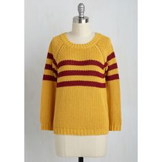 Mind Over Alma Mater Sweater ($150) via Polyvore featuring tops, sweaters, stripe top, yellow top, yellow striped sweater, knit sweater and sports tops