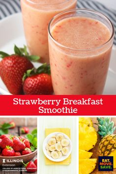 Easy and delicious breakfast smoothie uses strawberries, bananas, pineapple juice and yogurt. #smoothie #breakfastsmoothie #strawberries