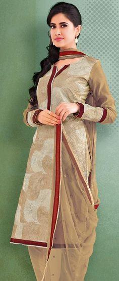 $63.7 Brown Embroidery Cotton Churidar Salwar Kameez 23942