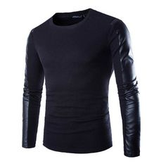 Men Black Autumn Long Sleeved T Shirt With Faux Leather Sleeves ($22) via Polyvore featuring men's fashion, men's clothing, men's shirts, men's t-shirts, mens long sleeve shirts, mens t shirts, mens longsleeve shirts and mens long sleeve t shirts