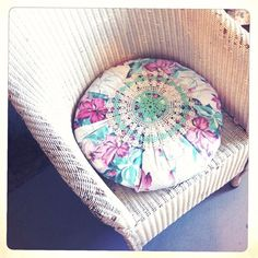 fun pillow idea. fabric and a doilie