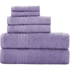 Mainstays Essential Bath Towel Collection, 6-piece Set (Violet Sky)