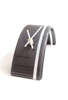 Modern Glass Desk Clock in Gray with White Pin by SeaLambGlass, $59.99