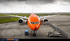 "KLM Boeing 777-306/ER PH-BVA ""Nationaal Park De Hoge Veluwe / De Hoge Veluwe National Park"" at Amsterdam-Schiphol, June 2016. Special #OrangePride livery. (Photo: Jeffrey Schafer)"