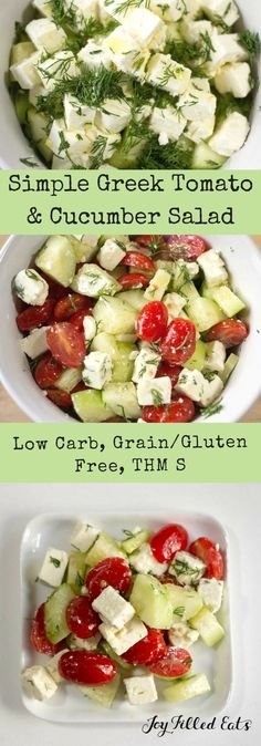 This Simple Greek Salad comes together in under five minutes. By using a few key flavors you can whip up a restaurant quality side in no time. via - Joy Filled Eats - Low Carb, Keto, & THM Recipes - Ketogenic Recipes, Paleo Recipes, Low Carb Recipes, Low Carb Vegitarian Recipes, Ketogenic Diet, Low Carb Summer Recipes, Zuchinni Recipes, Crab Recipes, Ketosis Diet