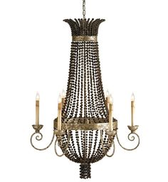Currey & Company - 9686 - Destination 6 Light Chandelier with Distressed Silver Leaf/Brown Finish